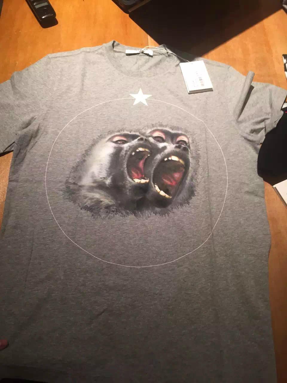 16春夏新款 Givenchy/纪梵希 男款双猴头灰色圆领短袖T恤