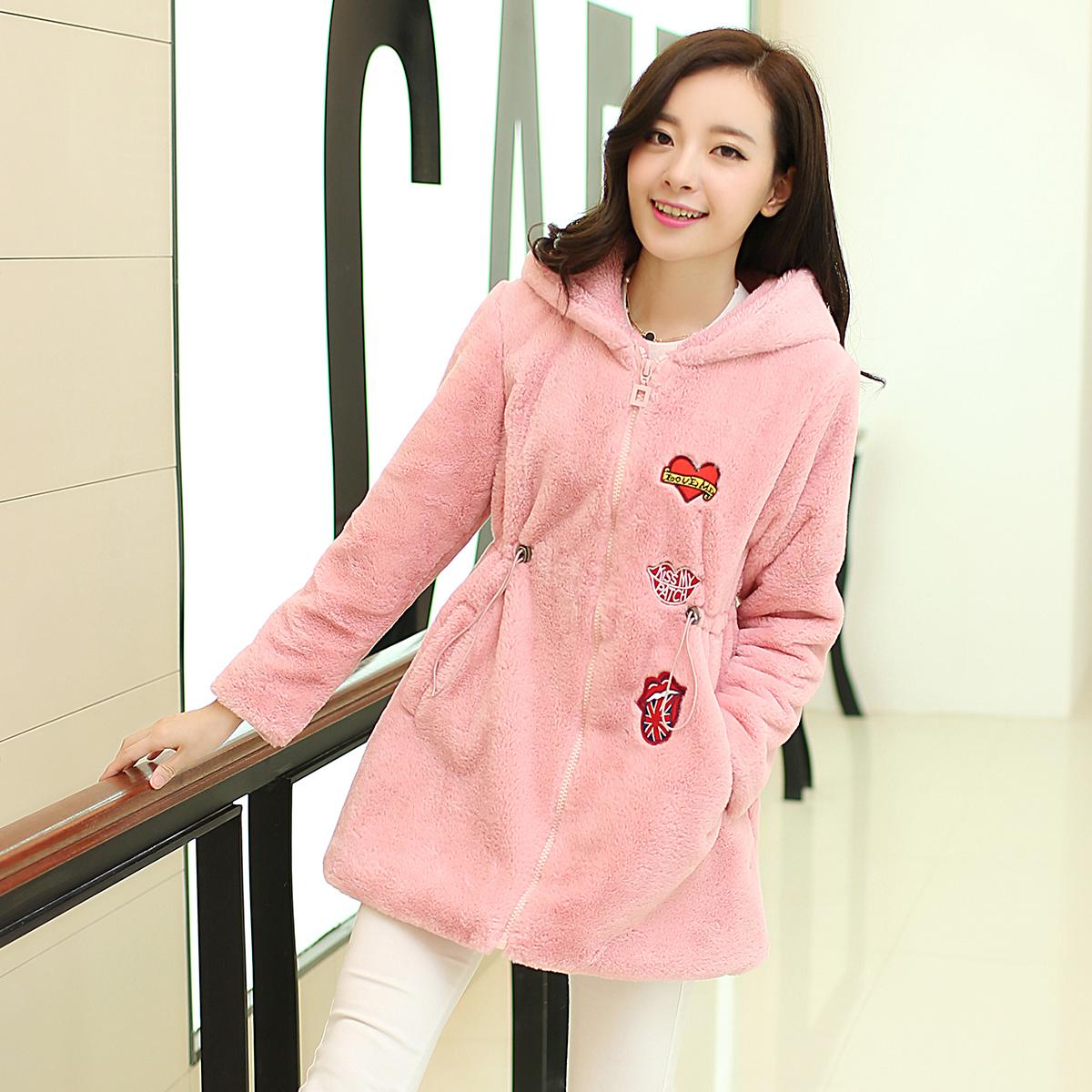 2014年冬季新款韩版羊羔毛可爱中长款甜美彰显迷人气质加厚棉衣