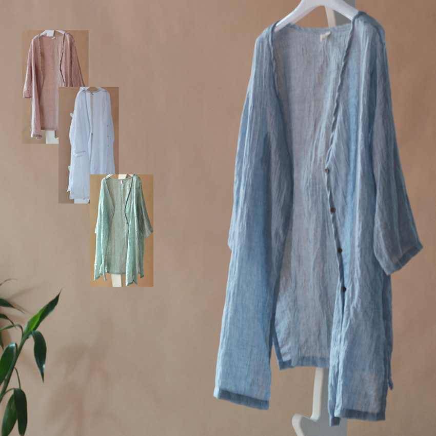 亚麻防晒衫薄款2015春夏季长袖上衣中长款衬衫女衬衣大码棉麻开衫
