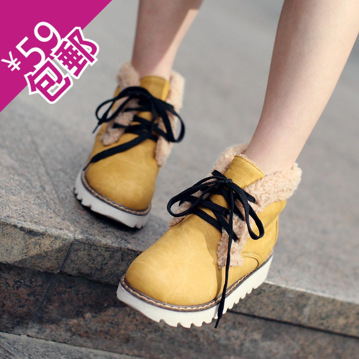 真皮内增高大码短靴纯色平跟学生韩版靴子欧洲站防水台休闲雪地靴
