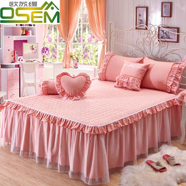 欧苏缦 全棉韩版夹棉夏季蕾丝床裙单件纯棉加厚床单床罩1.5/1.8米