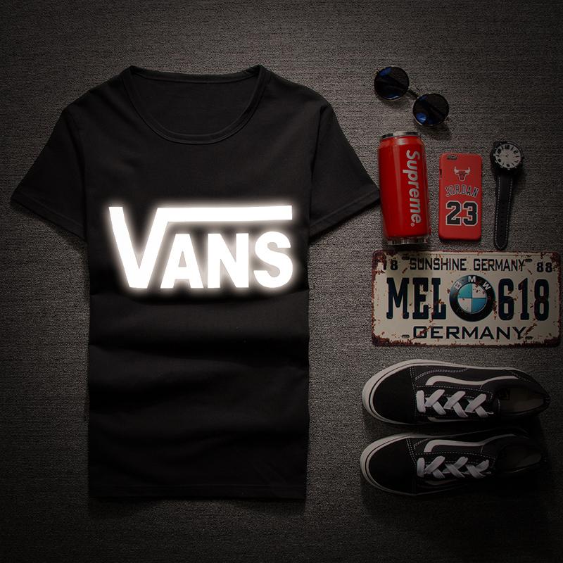 夏季新款VansT恤衫 男士韩版修身圆领短袖体恤 潮牌个性夜光T恤