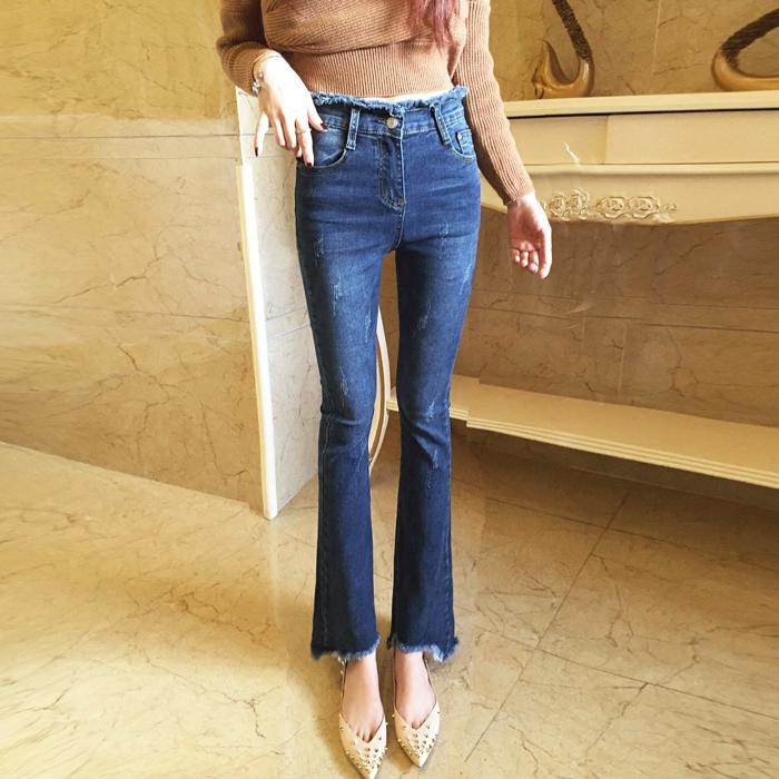 复古弹力微喇牛仔裤2018春季新款高腰毛边小喇叭裤显瘦长裤女气质