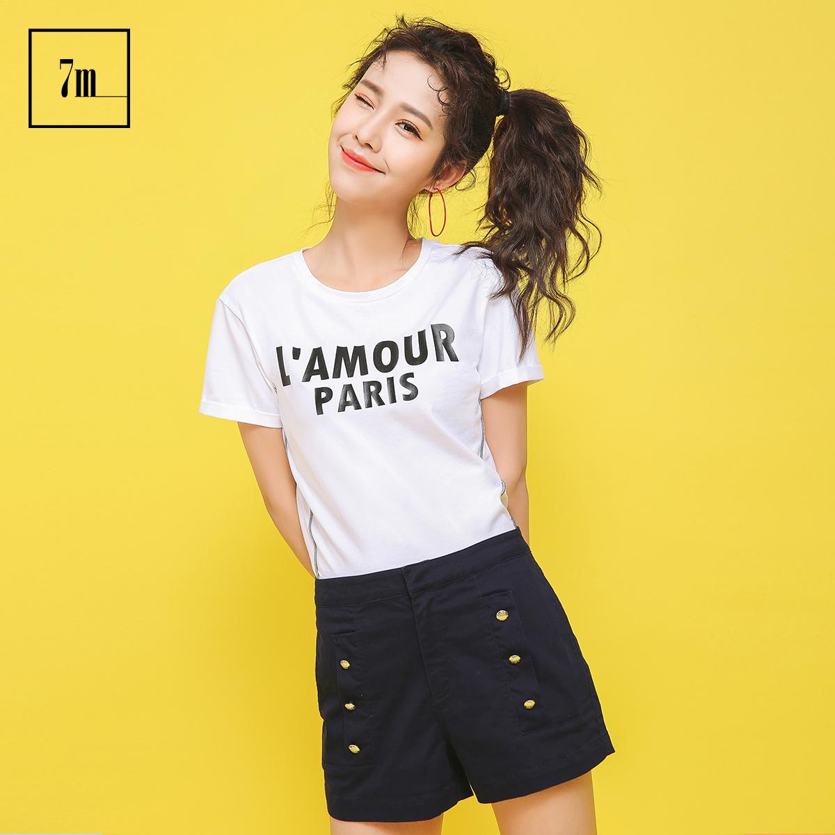 宽松短袖拉夏贝尔7m2017夏装新款韩版字母印花打底衫内搭t恤女