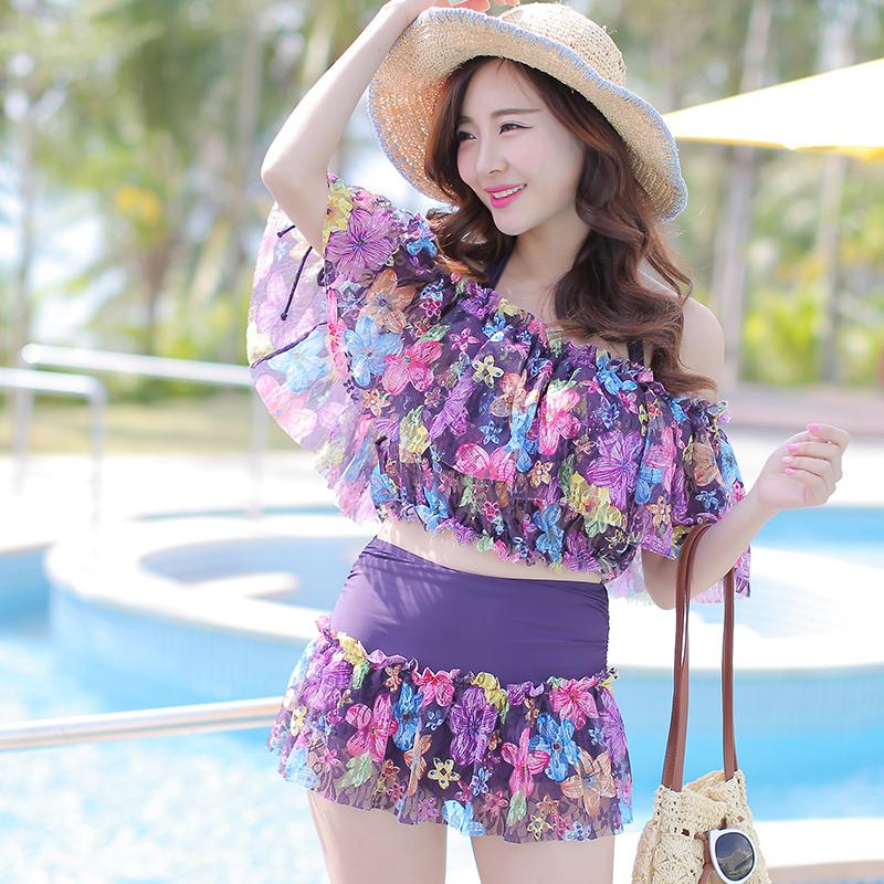 2015韩国保守遮肚比基尼游泳装衣女大小胸钢托聚拢三四件套bikini