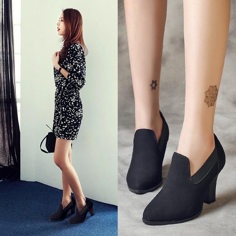 2015新款黑色尖头真皮秋女鞋中跟女单鞋坡跟粗跟高跟鞋英伦风大码