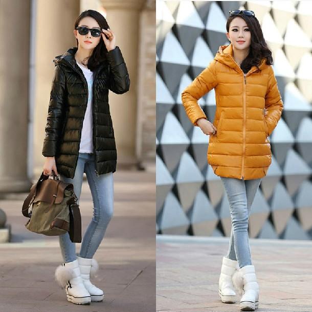 冬装 新款棉衣女pu皮连帽羽绒棉服女中长款 韩版棉袄子防寒服外套