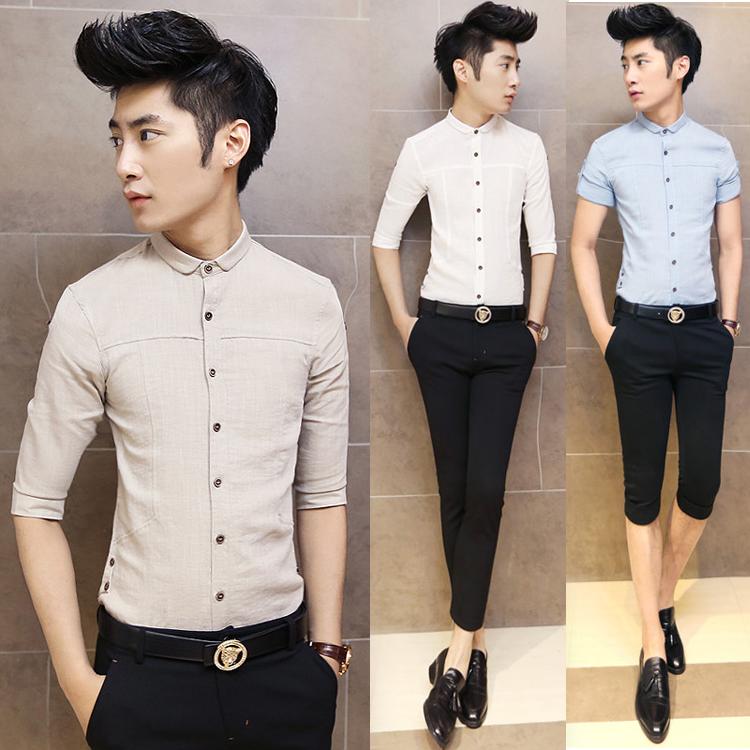 夏装英伦半袖亚麻衬衣韩版修身型休闲七分袖衬衫男潮7分棉麻寸衫