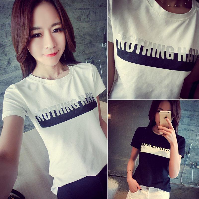 2015春夏装韩国新款时尚潮流百搭修身纯色字母短袖T恤女 显瘦上衣