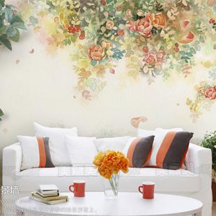 大型壁画 电视背景墙纸壁纸 沙发背景卧室墙纸 客厅墙纸 彩绘月季