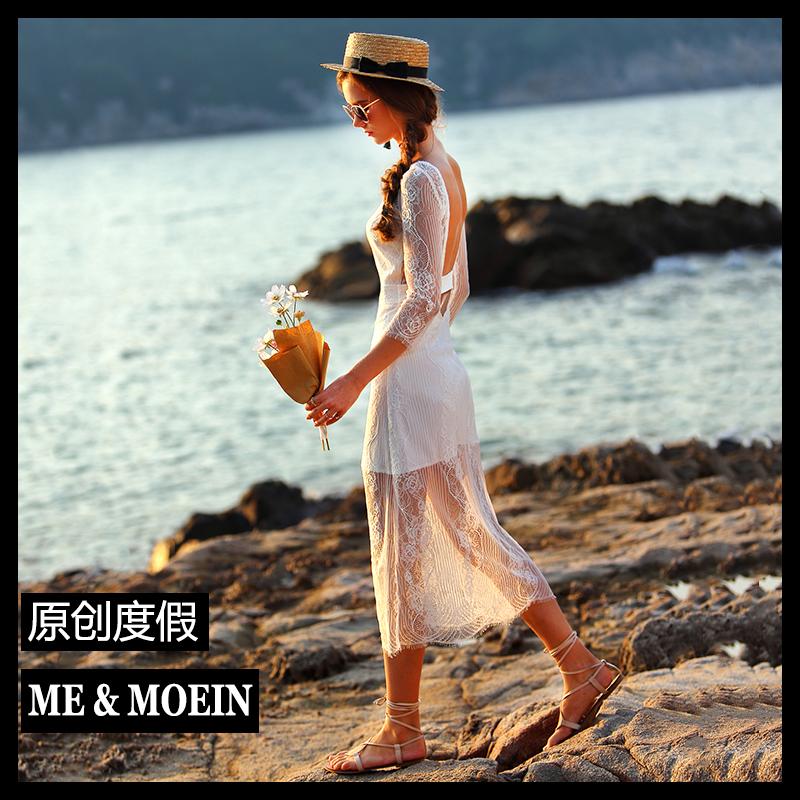 夏海边度假女装沙滩名媛气质小礼服性感露背蕾丝连衣裙旅拍轻婚纱