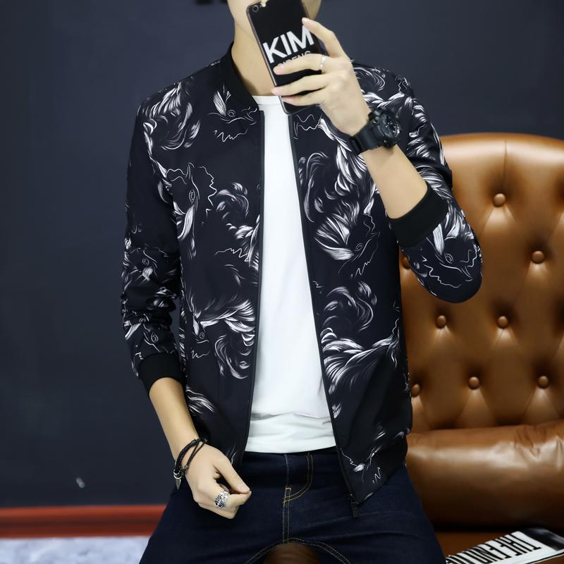 夹克男士春季新款青年韩版修身短款棒球领时尚印花夹克春装外套