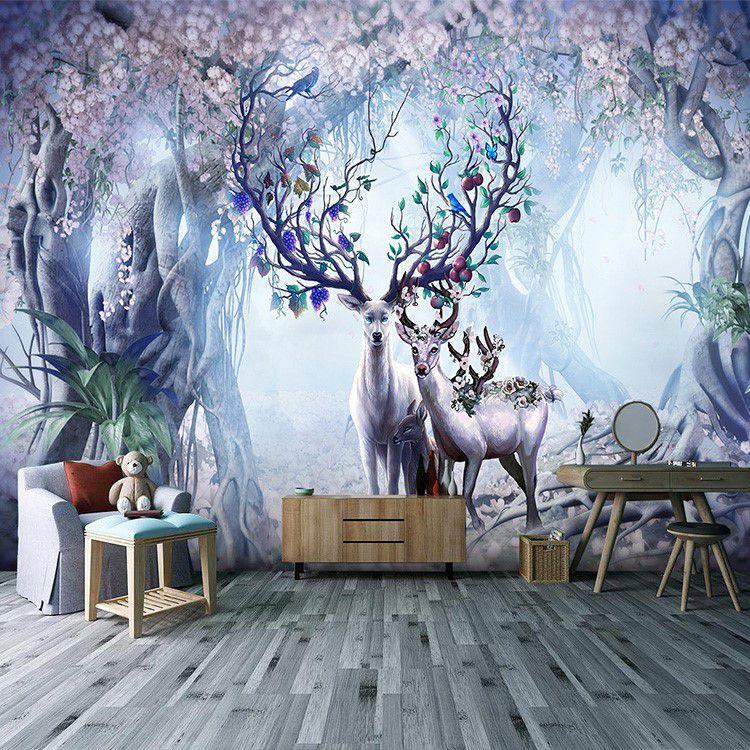 3d立体北欧森林麋鹿墙纸梦幻空间壁画客厅卧室电视背景墙布8D壁纸