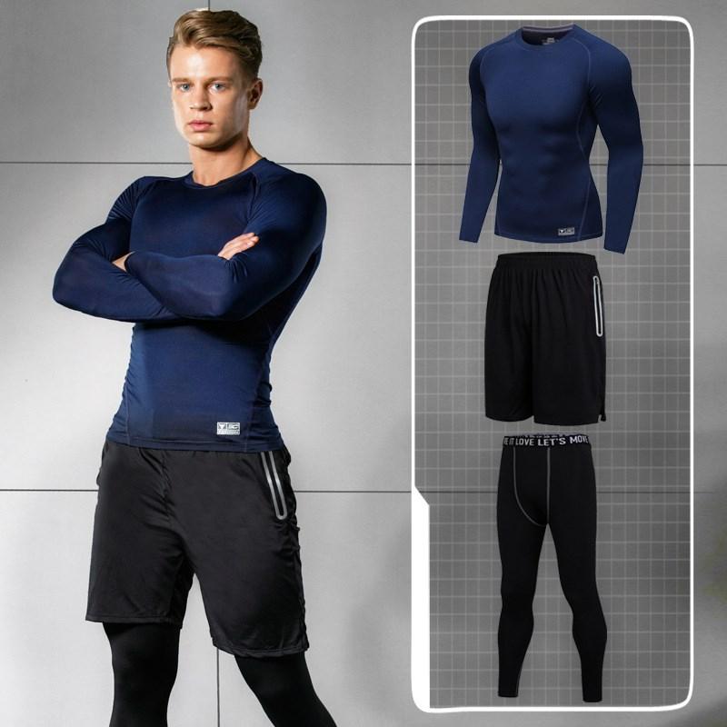 春夏季健身房瑜伽服运动套装男三件套跑步上衣速干显瘦假两件裤子