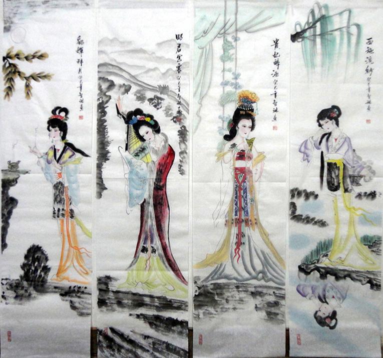 国画梅兰竹菊四条屏 国画四条屏手绘