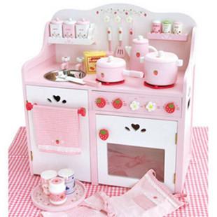 Mother Garden 草莓超大豪华厨房玩具/灶台 木制过家家儿童玩具