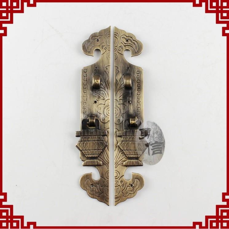 直条拉手古典家具五金铜件柜门拉手中式锁牌雕花仿古门牌1105一对