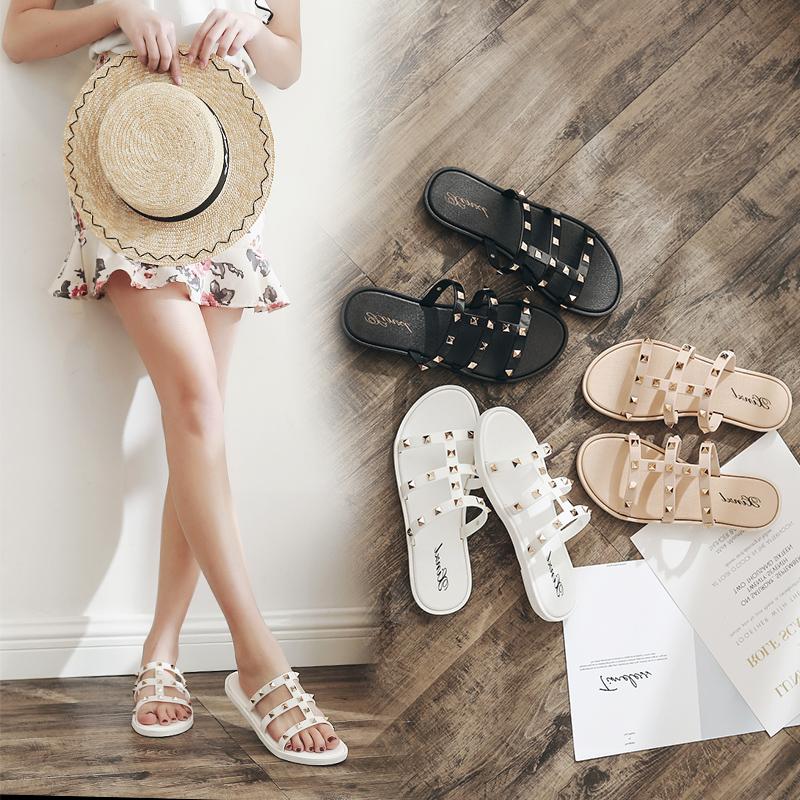 2018新款时尚拖鞋女夏季外穿沙滩鞋平底女士厚底凉拖鞋一字拖外出