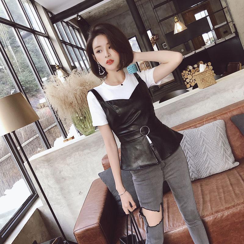 刘啦啦 PU皮质吊带收腰裙摆吊带背心女2018春夏季新品韩版时尚潮