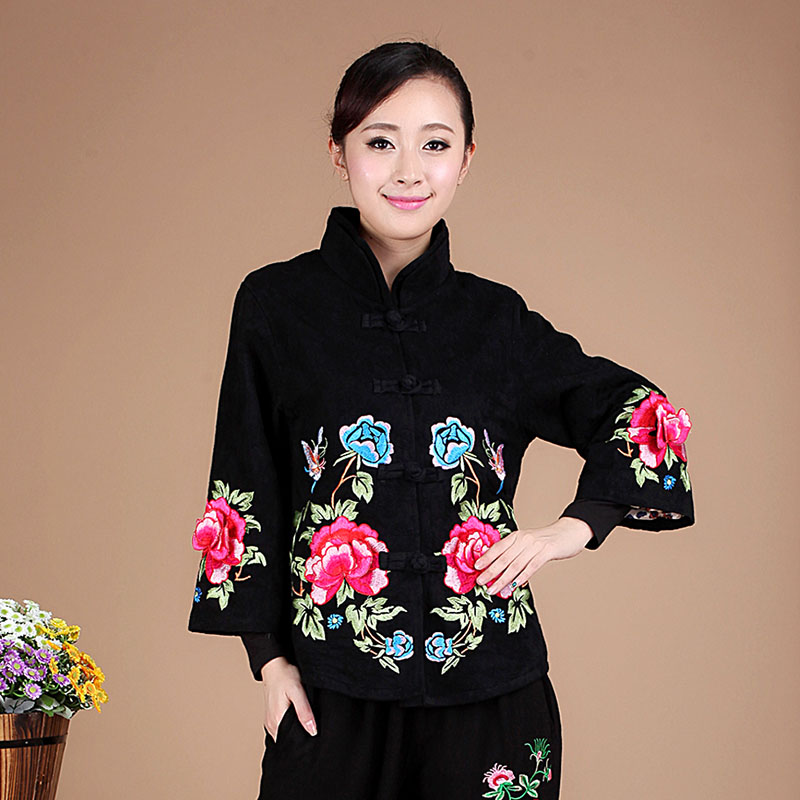 中老年女棉服_民族风刺绣外套春装 中式改良唐装民族风秋装外套棉麻 女装 上衣