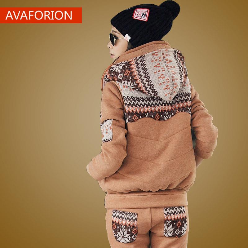 秋冬韩版加绒加厚卫衣三件套学生连帽休闲卫衣女大码套头宽松外套