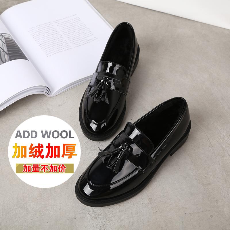 冬季小皮鞋女黑色加绒韩版学生英伦学院风低跟女鞋保暖流苏女单鞋