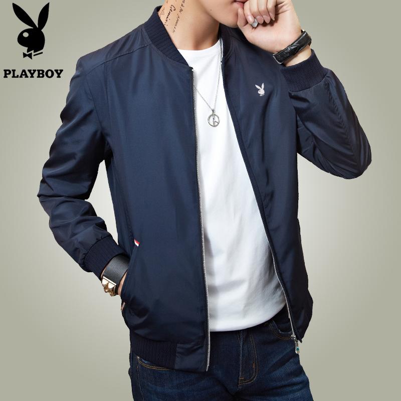 花花公子正品春季男士休闲夹克外套青年春装薄款修身立领韩版男装
