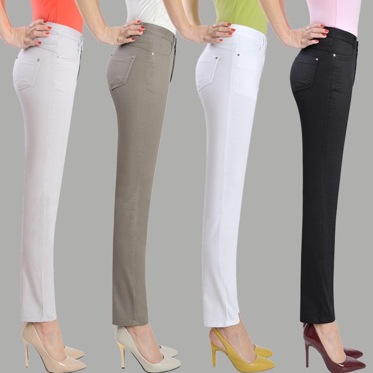 中老年纯棉高腰弹力九分裤夏季女士薄款显瘦小直筒白色9分休闲裤