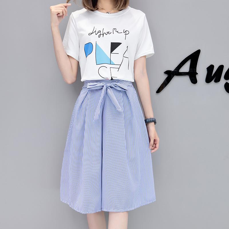 夏季连衣裙女装2018新款小清新A字裙子韩版春学生两件套装时尚潮