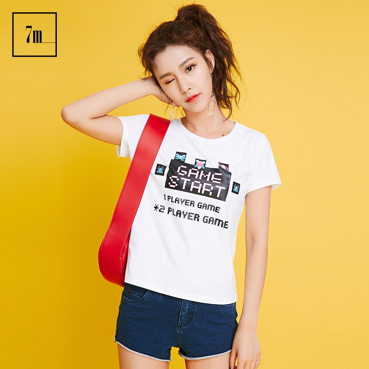 印花韩版拉夏贝尔7m2018夏装新款圆领宽松百搭白色短袖上衣T恤女