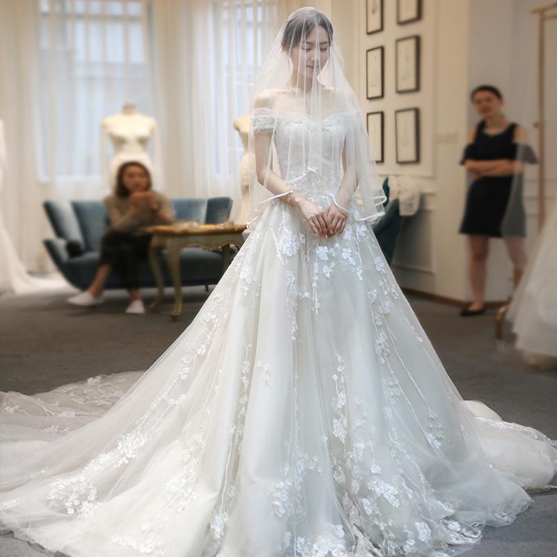 一字肩婚纱礼服2018新款孕妇大码显瘦新娘结婚拖尾公主梦幻冬季