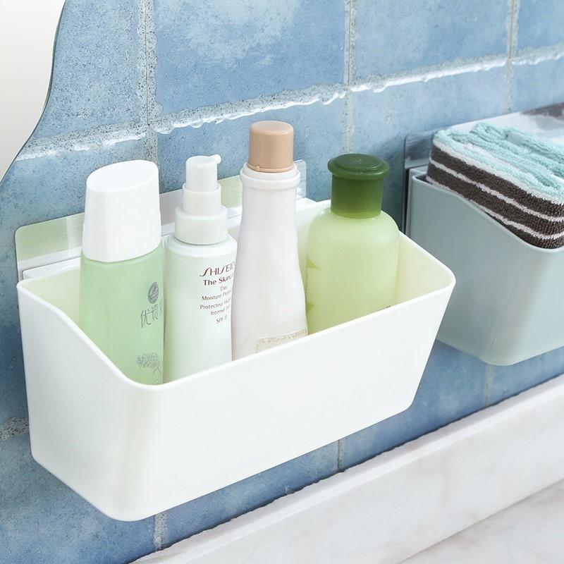 打孔免浴室卫生间置物架墙挂塑料收纳架墙壁化妆品收纳盒壁挂式