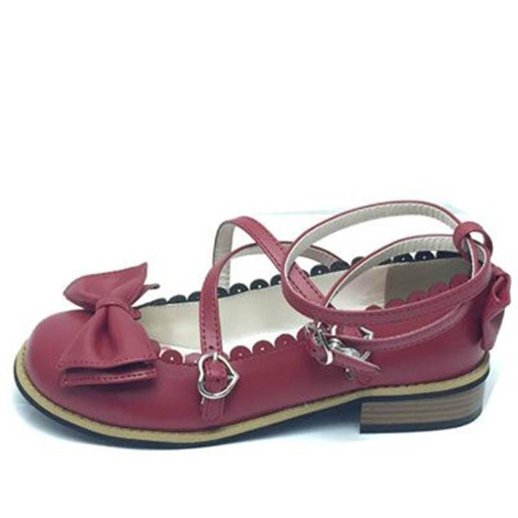 升级加软茶会鞋lolita洛丽塔女学生鞋圆头低跟平底公主鞋蝴蝶结