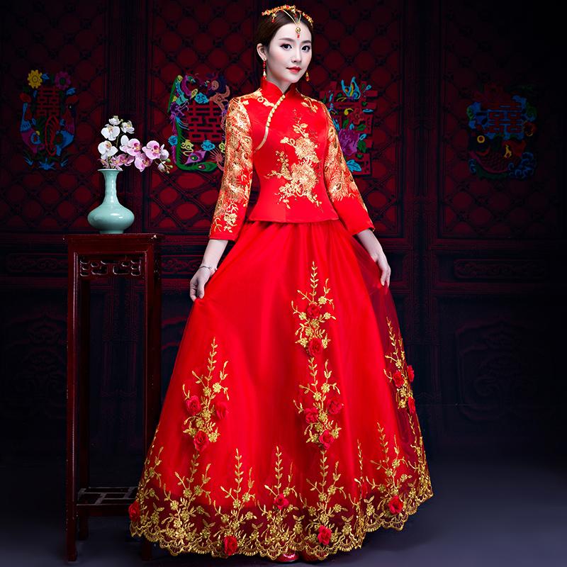 秀禾服新娘2018新款中式婚纱礼服喜服女结婚复古宫廷中国风红色夏