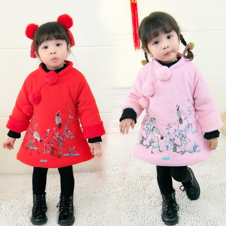 过年喜庆宝宝装女宝拜年服1-3岁唐装公主新年装4女宝宝过年新衣服