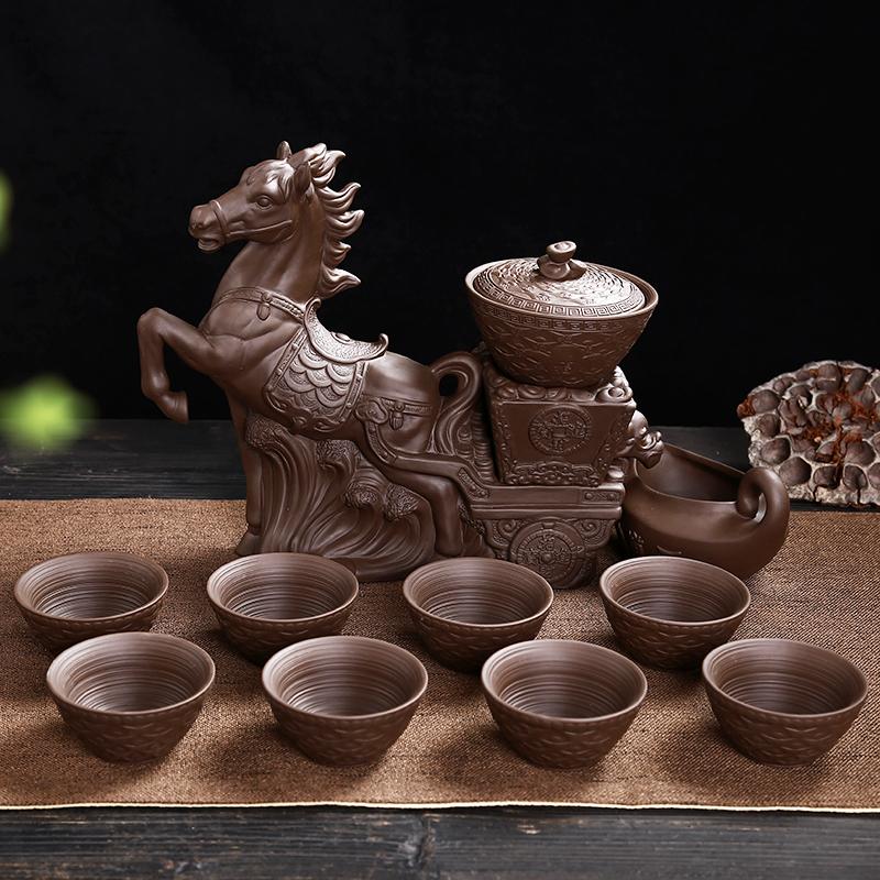整套紫砂茶具陶瓷半全自动茶具套装创意复古懒人防烫功夫泡茶水壶