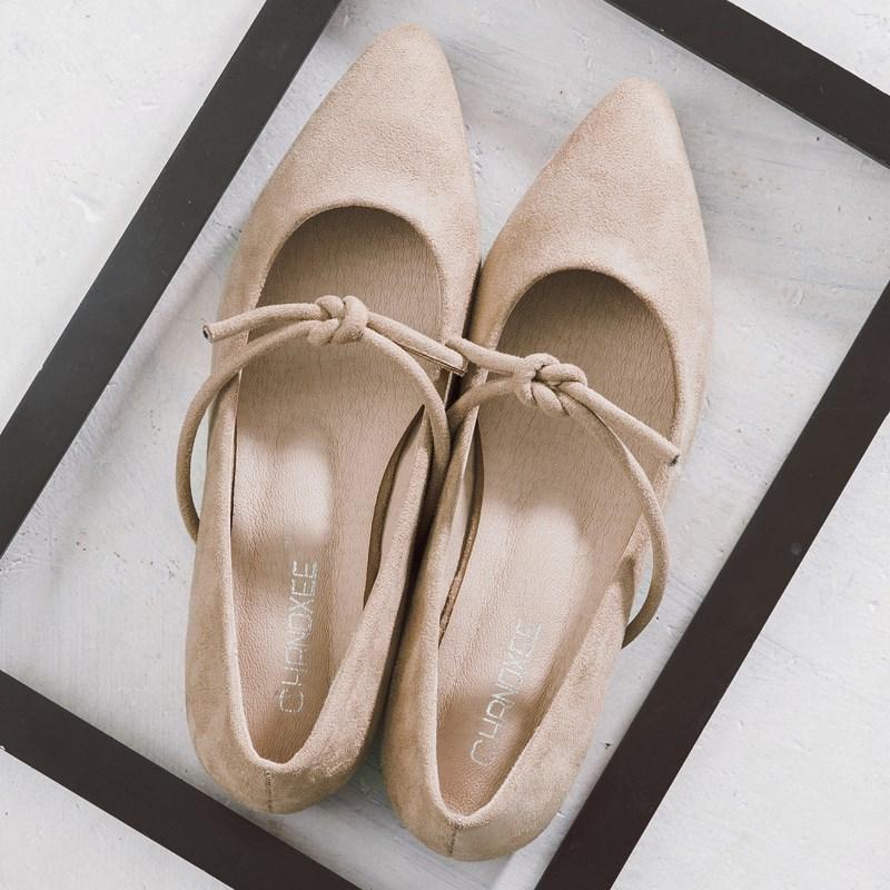尖头单鞋女平底春季2018新款女鞋复古学生低跟鞋浅口绒面淑女鞋子