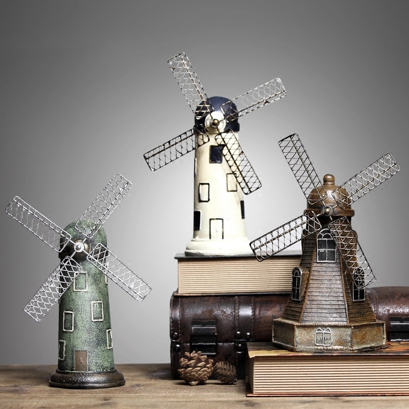 北欧创意复古房间荷兰风车家居摆件摆设酒柜房间客厅美式小装饰品