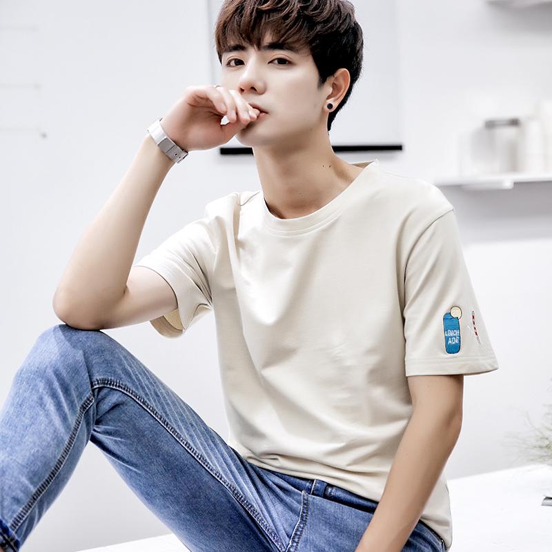 凡纯男士小清新潮男帅气短袖T恤2018夏装新款青年韩版简约T恤