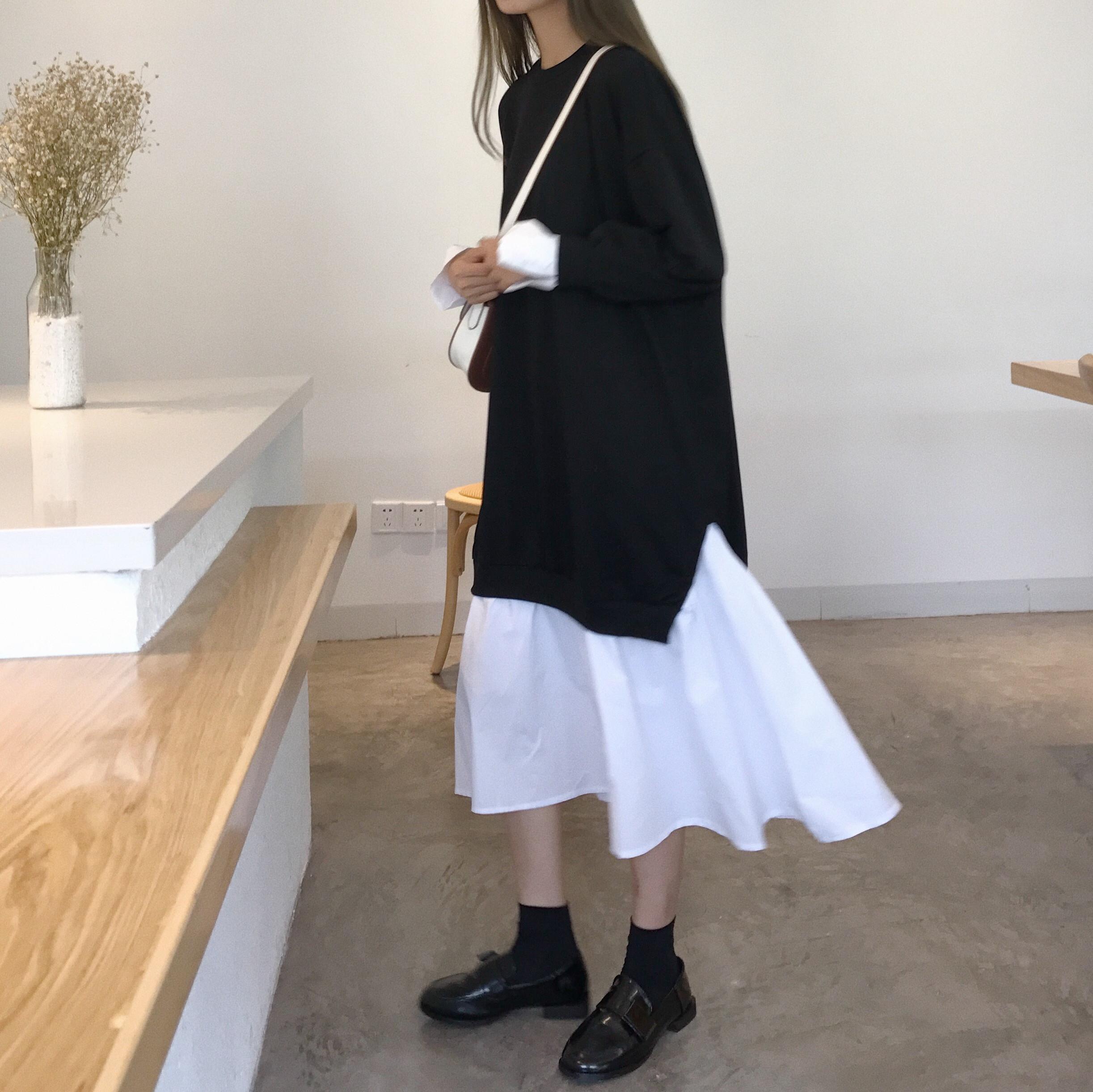 假两件连衣裙学生韩版女小清新原宿长裙ulzzang过膝裙子学院风bf