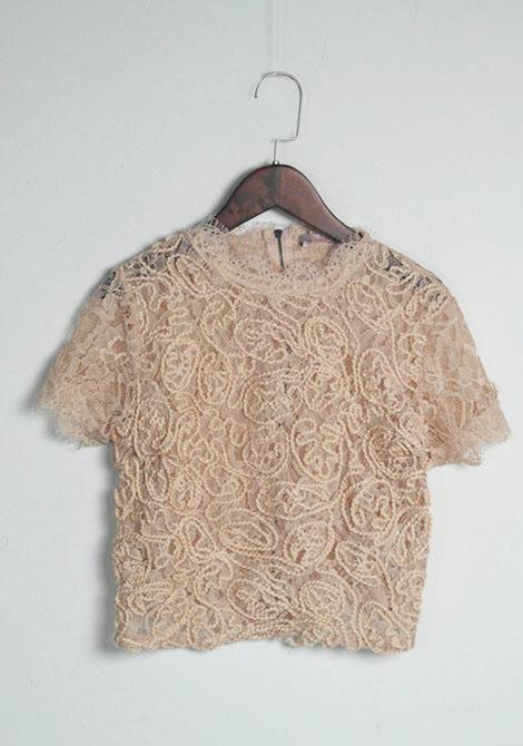 欧单品质蕾丝盘花镂空宽松休闲小立领拉链短袖T恤内搭打底衫女春