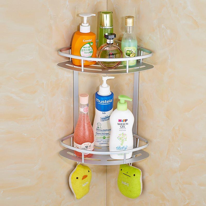 置物架浴室厕所篮收纳盒背胶三角形打孔免架子卫生间壁挂转角收纳