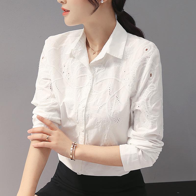 全棉时尚白衬衫女装长袖2018新款春秋季上班族上衣纯棉绣花衬衣
