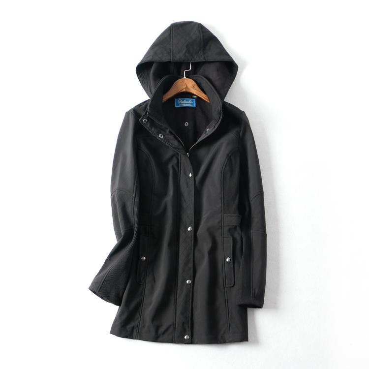 美国单 有大码 针织带帽中长款女软壳冲锋衣户外风衣外套0.83kg