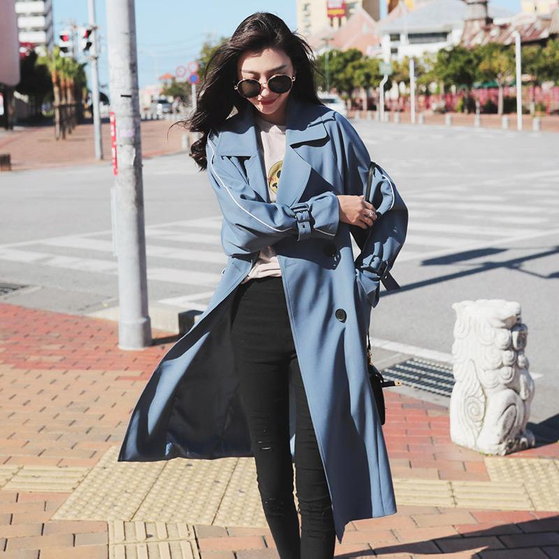 雾霾蓝风衣女中长款韩版春季2018新款学生bf宽松过膝港风chic外套