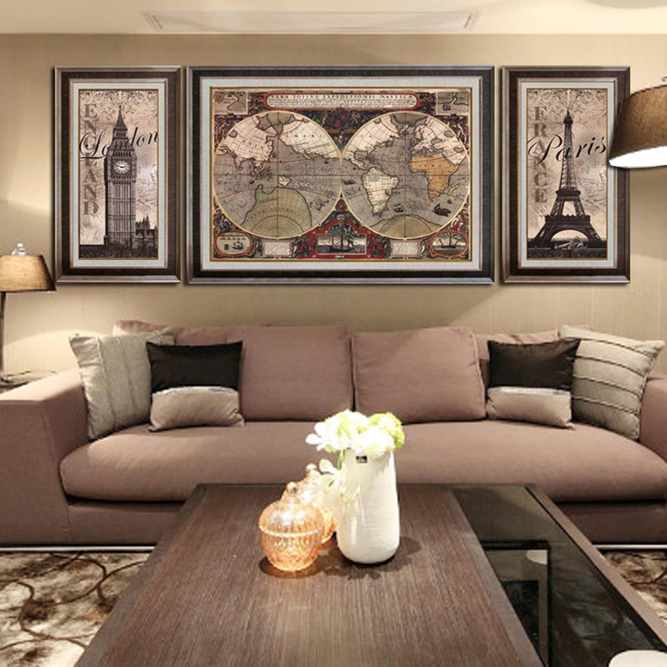 美式客厅装饰画地图沙发背景墙画壁画书房卧室有框画 世界地图图片