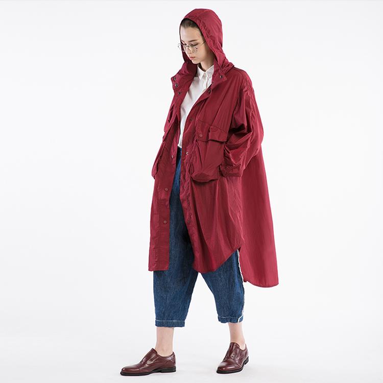 半圆原创设计2018春新款宽松连帽防水户外轻薄款风衣女中长款外套