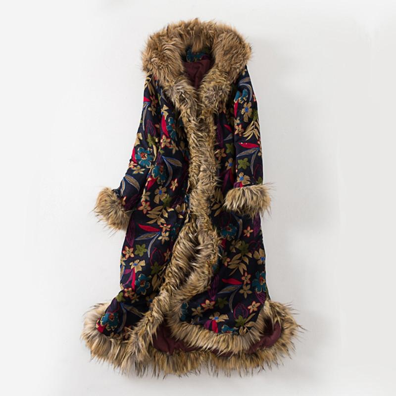 冬装民族风女花棉衣棉麻文艺加厚长款过膝超大毛领连帽中式棉袄
