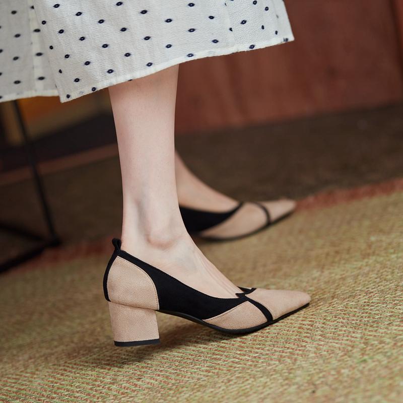 小香风单鞋女粗跟大码女鞋40中跟41绒面43磨砂气质尖头通勤高跟鞋