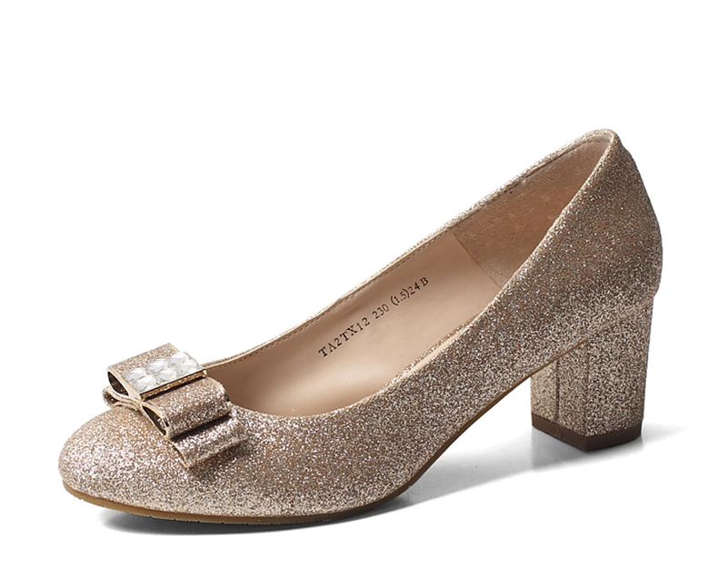 秋季新款中粗跟舒适女鞋金色婚鞋水晶婚纱新娘鞋真皮黑色羊皮单鞋